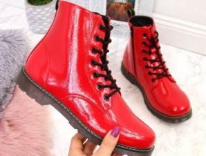 Warm lacquered boots Miss❤E Jr EVE251C red